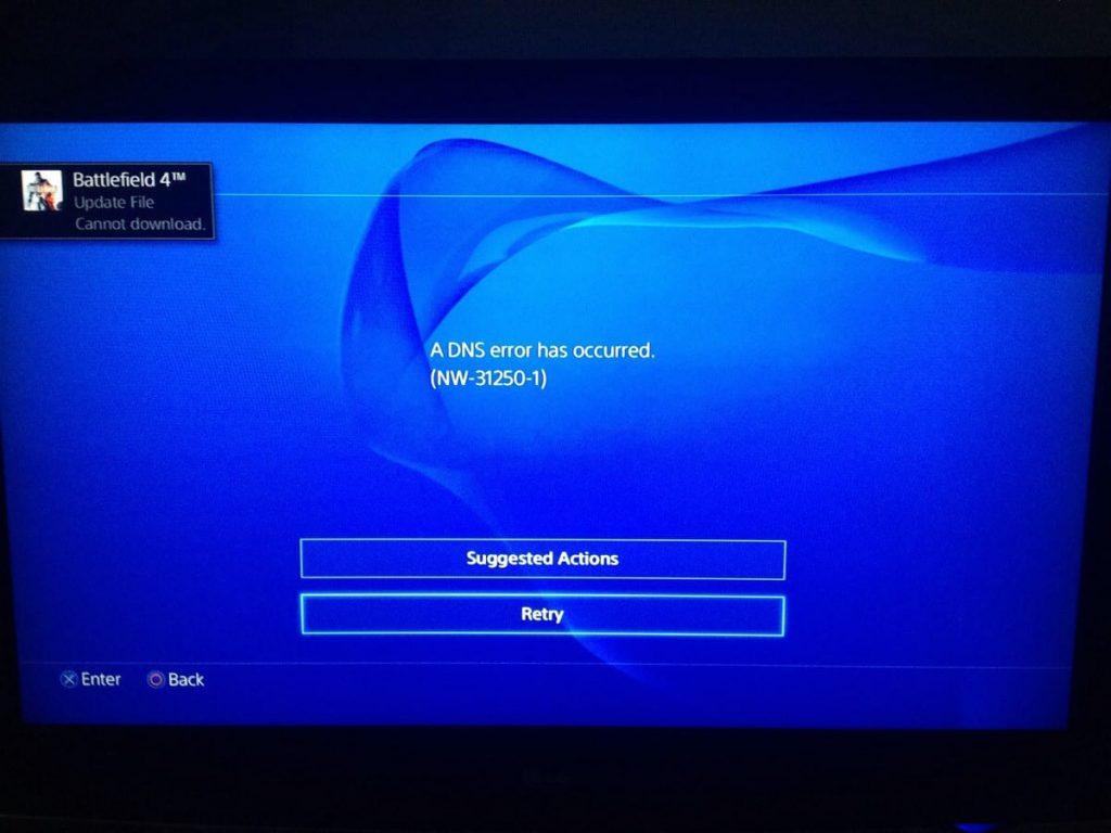 PSN DNS error nw-31250-1